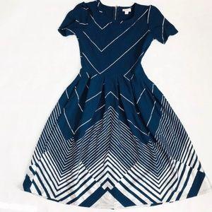 Lularoe Elegant Amelia blue and Silver dress.